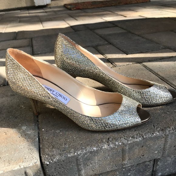 a1d8d1c7919 Jimmy Choo Shoes - Jimmy Choo Isabel Champagne Glitter Heels Sz 39